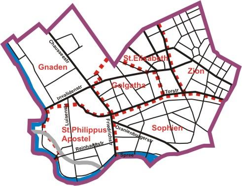 Gemeindegebiet der Ev. Kirchengemeinde Am Weinberg